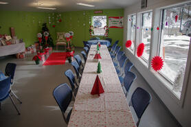 Twincraft's break room decorated as the North Pole