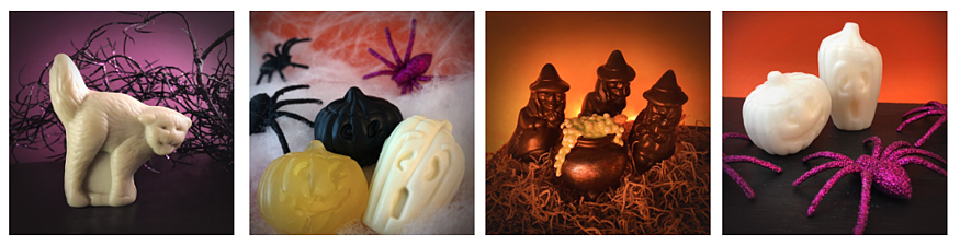 Four images depicting Halloween inspired scene photos using Twincraft Skincare's seasonal novelty soap dies in Halloween shapes such as cat, pumpkins, and witches.