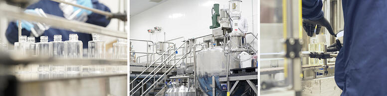 Triptych image of Twincraft Skincare's liquid skincare manufacturing facility batch and fill areas