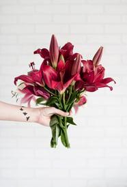 red floral bouquet