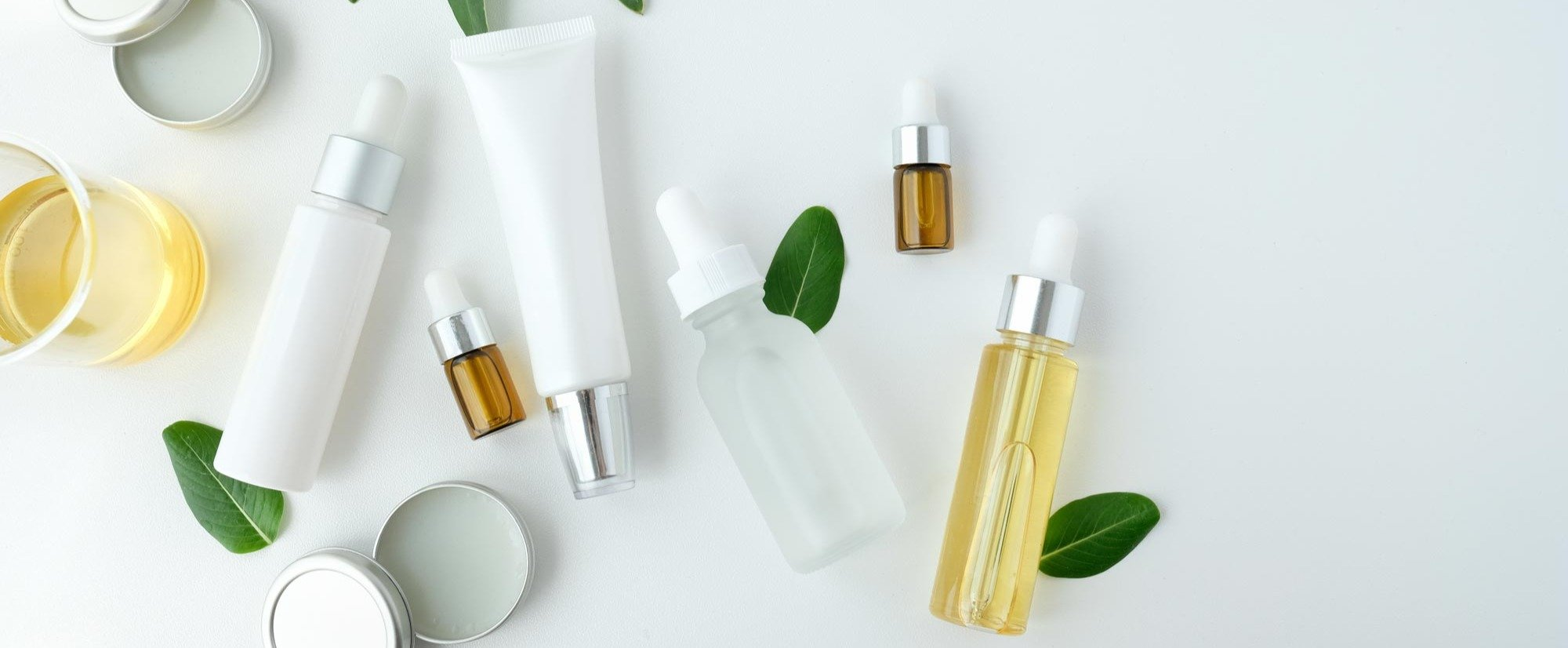 skin care bottles and tubes
