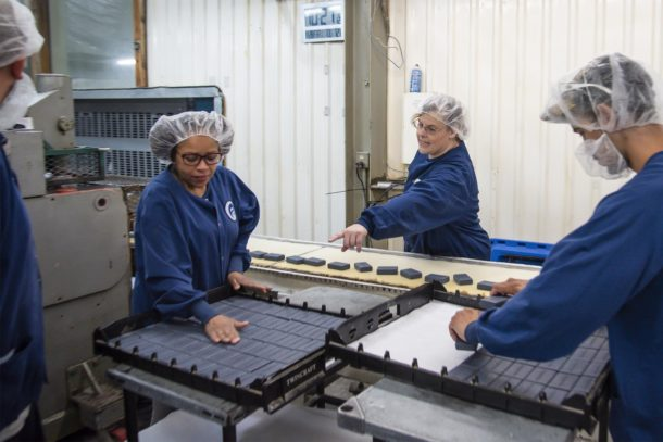 Twincraft Skincare employees working in manufacturing